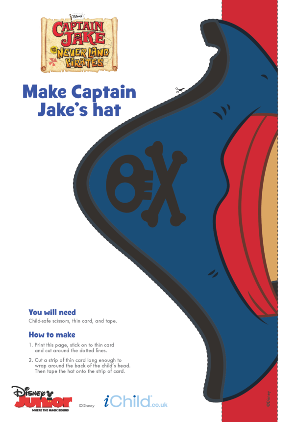 Captain Jake and the Never Land Pirates Hat Craft (Colour)- Disney Junior