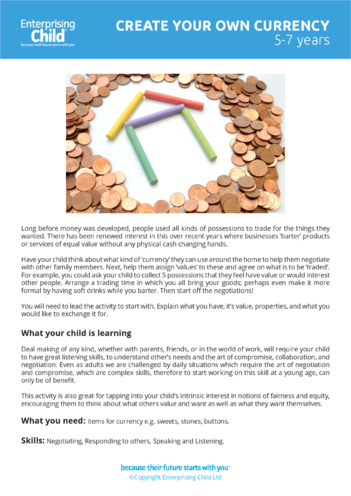 Thumbnail image for the Enterprising Play- 'Create your own currency' (5-7 years) activity.