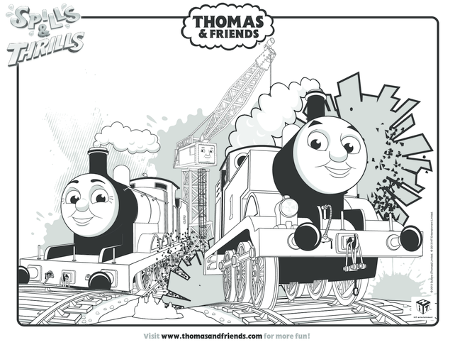 Thumbnail image for the Thomas, James & Cranky Colouring in Picture (Thomas & Friends) activity.
