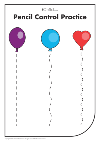 Thumbnail image for the Pencil Control Practice: Balloon Strings activity.