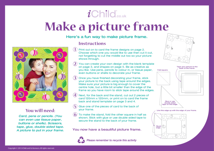 Thumbnail image for the Make a Picture Frame Craft activity.