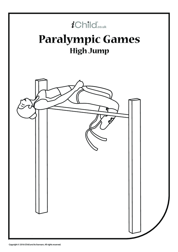 Paralympic High Jump Colouring in Picture