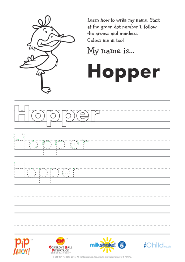 Hopper Handwriting Practice Sheet (Pip Ahoy!)