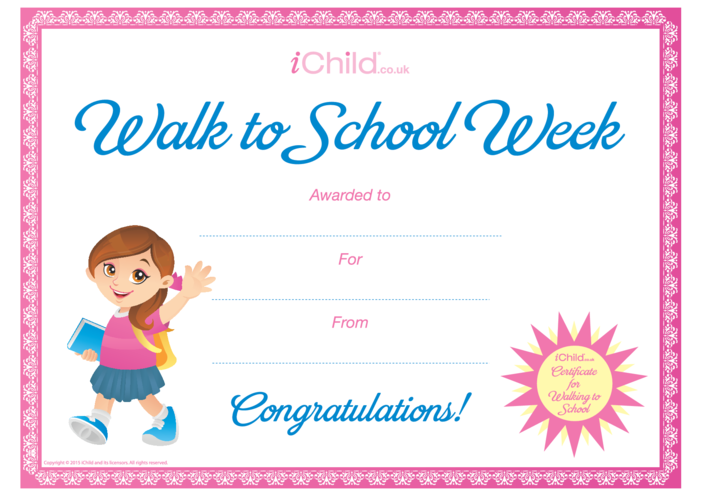 Thumbnail image for the Walk to School Certificate (pink border) activity.
