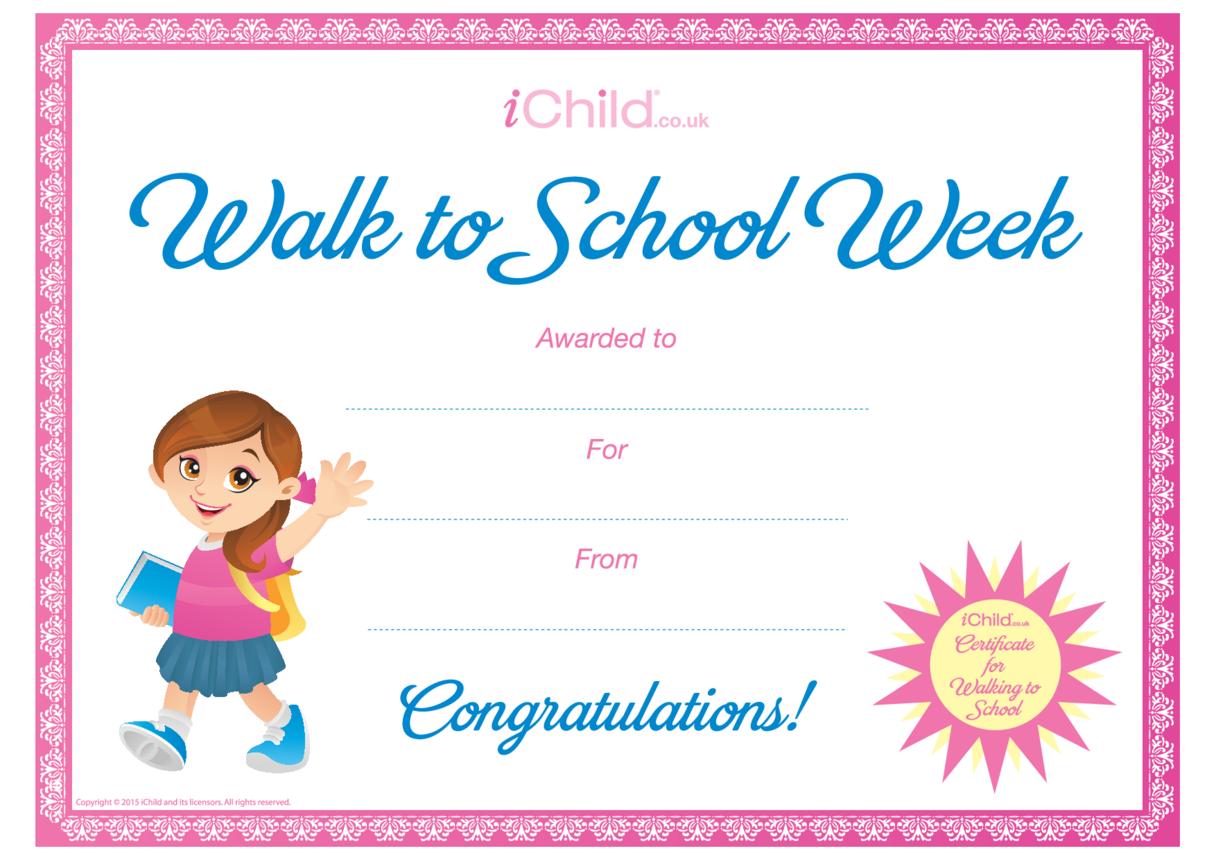 Walk to School Certificate (pink border)
