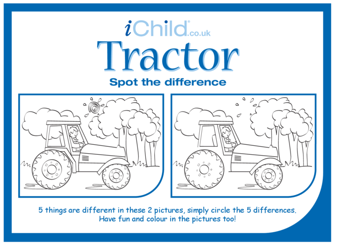 Thumbnail image for the Tractor Spot the Difference activity.