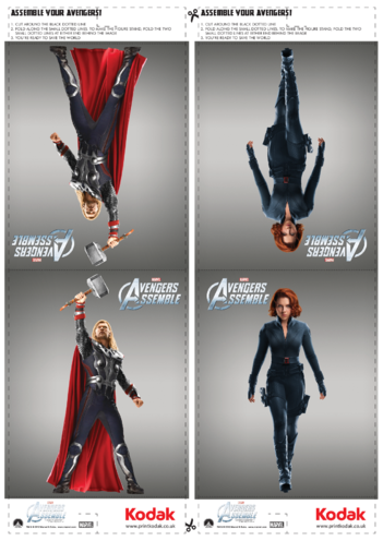 Thumbnail image for the Fold Figures: Thor & Black Widow activity.