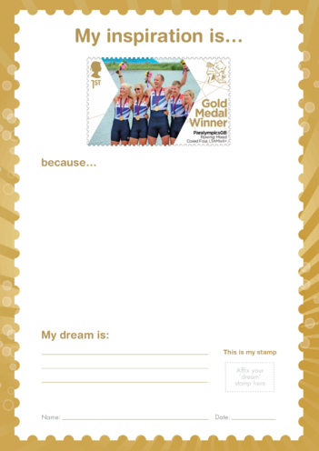 Thumbnail image for the My Inspiration Is- ParalympicsGB Mixed Rowing- Gold Medal Winner Stamp activity.