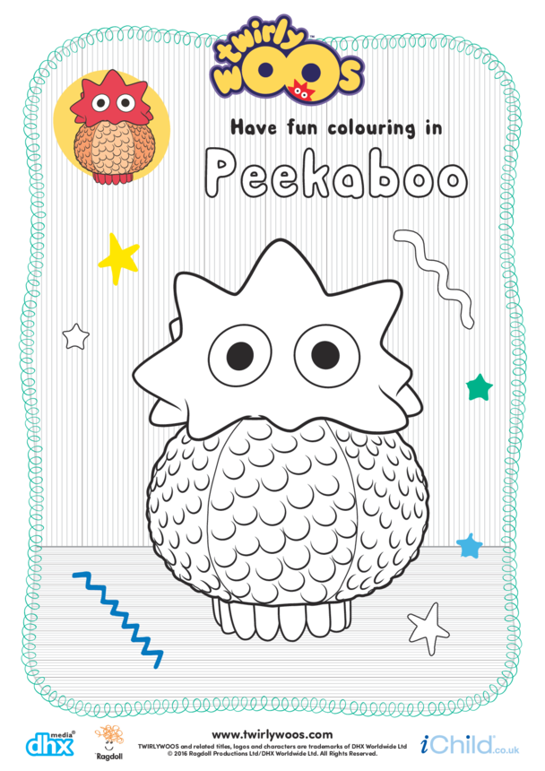 Peekaboo Colouring in Picture