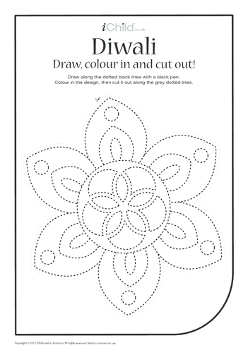 Thumbnail image for the Diwali: Draw, Colour & Cut Out activity.