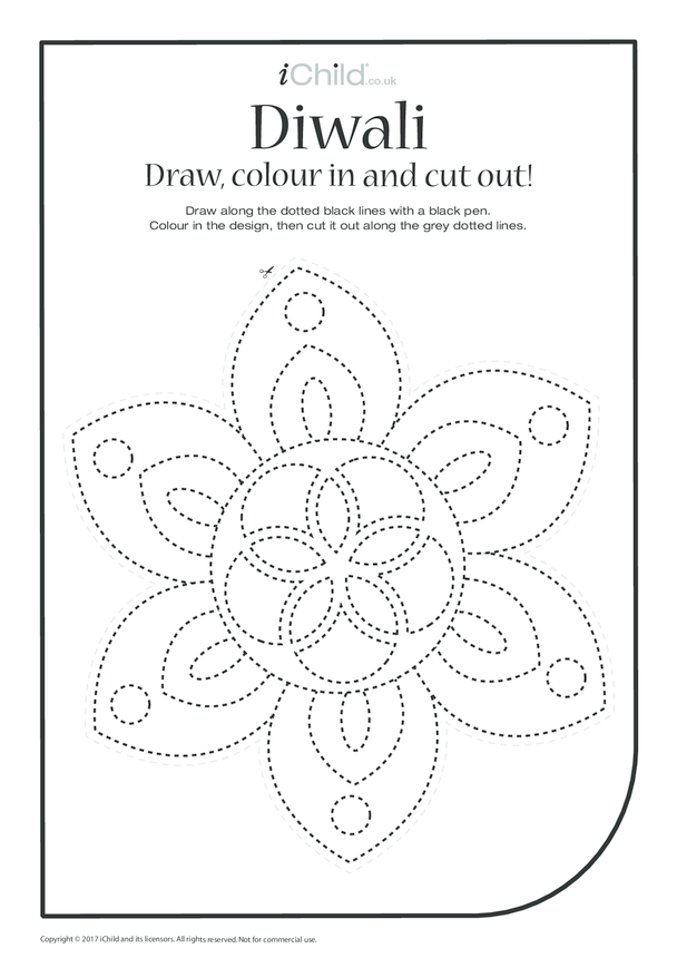 Diwali: Draw, Colour & Cut Out