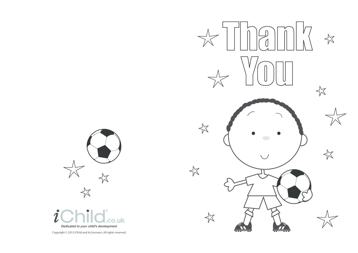 Thank You Card template for children- Football