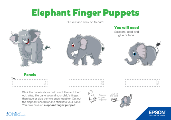 Thumbnail image for the Epson Elephant Finger Puppets activity.