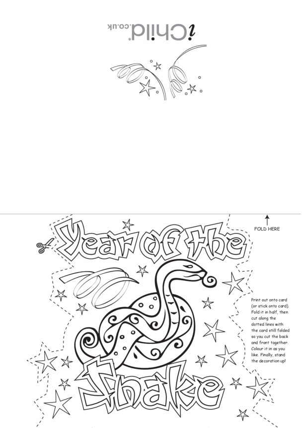 Chinese New Year Snake Craft Greetings Card