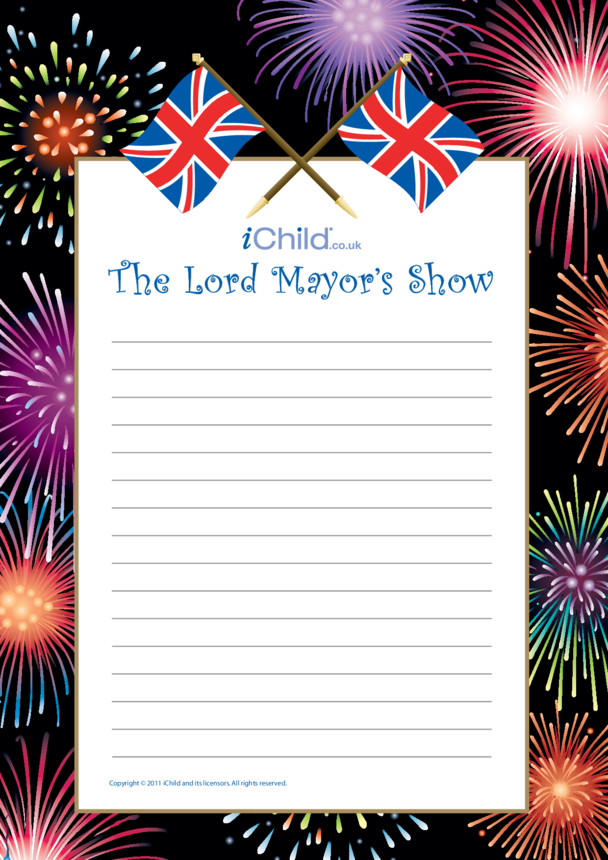 Lord Mayor's Show Writing Paper Template (Fireworks)