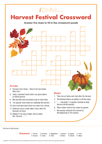 Thumbnail image for the Harvest Festival Crossword activity.
