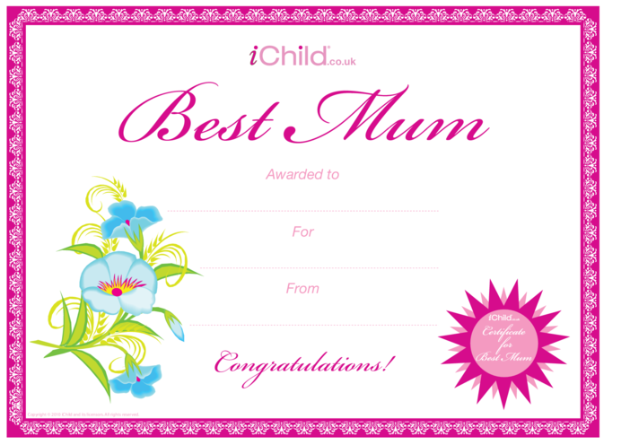 Thumbnail image for the Best Mum Certificate activity.