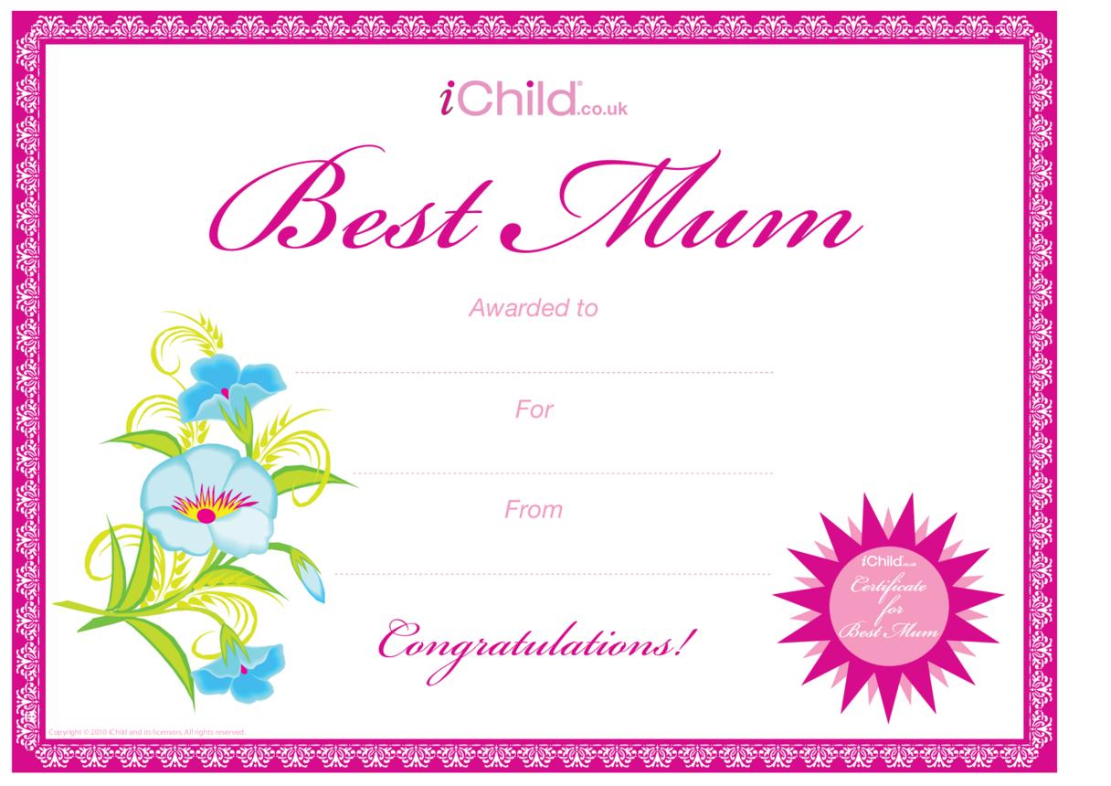 Best Mum Certificate