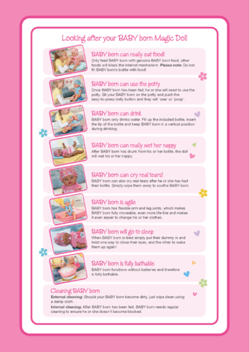Thumbnail image for the 2021 BABY born Looking after your BABY born Magic Doll activity.