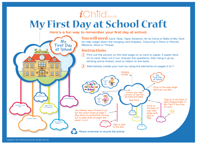 Thumbnail image for the First Day at School Craft activity.
