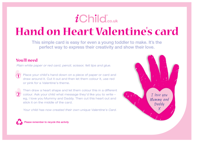 Thumbnail image for the Hand on Heart Valentine's Card activity.