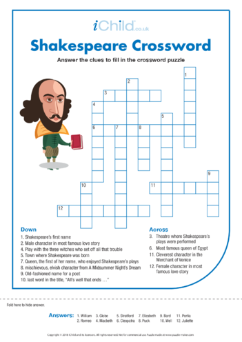Thumbnail image for the Shakespeare Crossword activity.