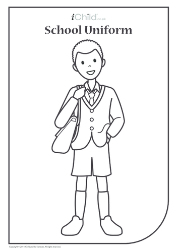 Thumbnail image for the Boy in School Uniform Colouring in Picture activity.