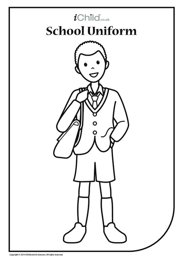Boy in School Uniform Colouring in Picture