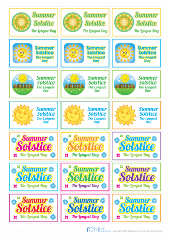 Thumbnail image for the Summer Solstice Large Sticker Sheet activity.