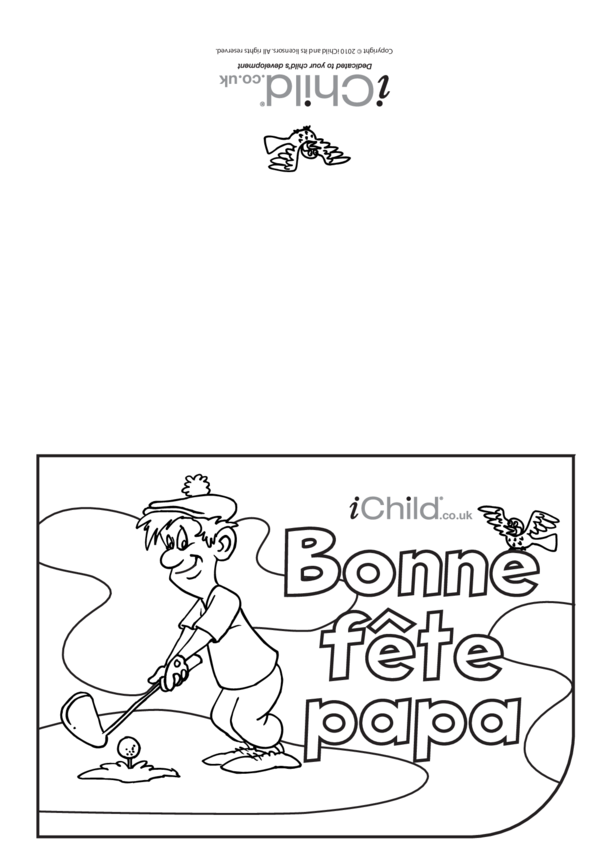 Father's Day Card in French- Golf