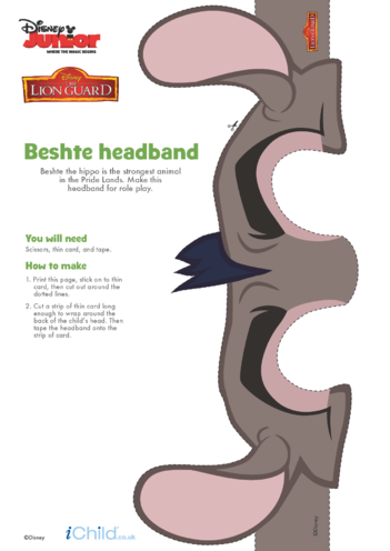 Thumbnail image for the The Lion Guard: Beshte Headband- Disney Junior activity.