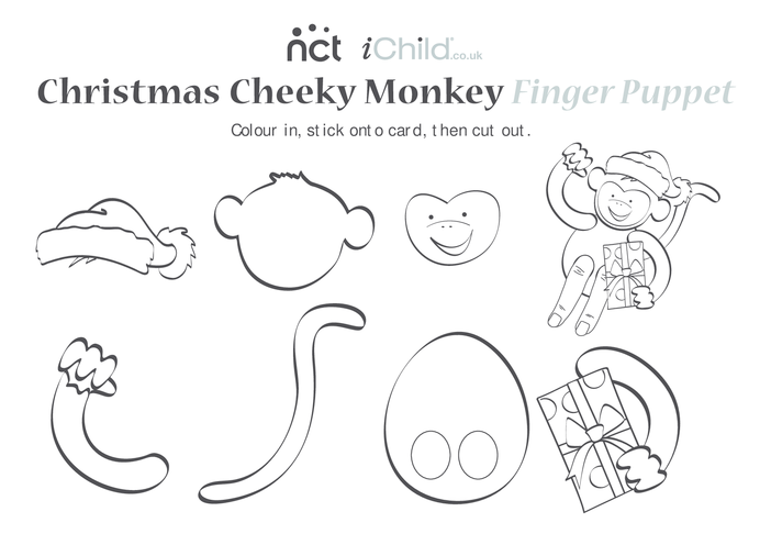 Thumbnail image for the Cheeky Monkey Christmas Finger Puppet activity.