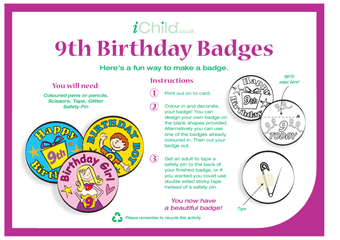 Thumbnail image for the Birthday Badges designs template for 9 year old 9th birthday activity.