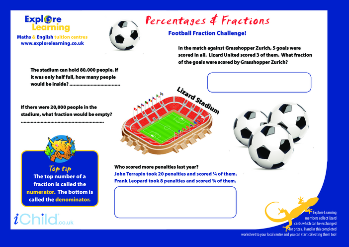 Thumbnail image for the Football Fractions activity.