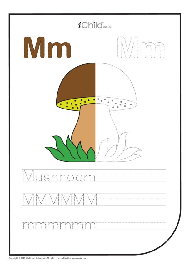M: Write the Letter M for Mushroom