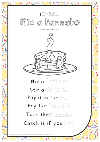 Thumbnail image for the Mix a Pancake - Poem for Pancake Day activity.