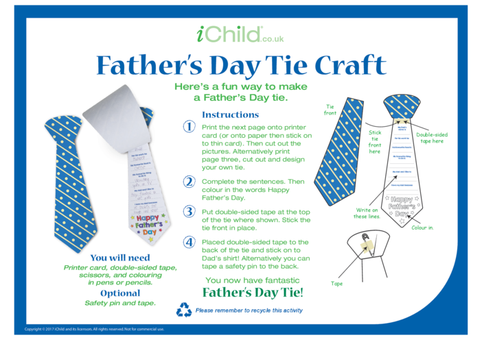 Thumbnail image for the Father's Day Tie Craft activity.