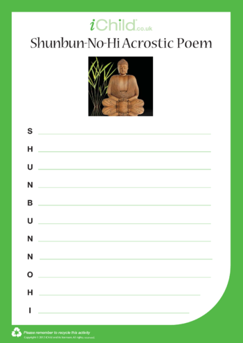 Thumbnail image for the Shunbun-no-hi Acrostic Poem activity.
