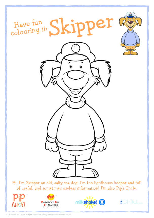 Uncle Skipper Colouring In Picture (Pip Ahoy!)