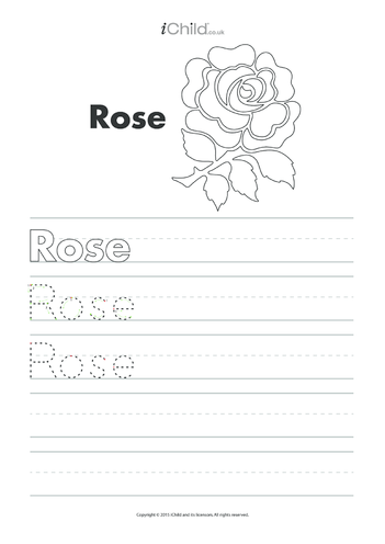 Thumbnail image for the Rose Handwriting Practice Sheet activity.