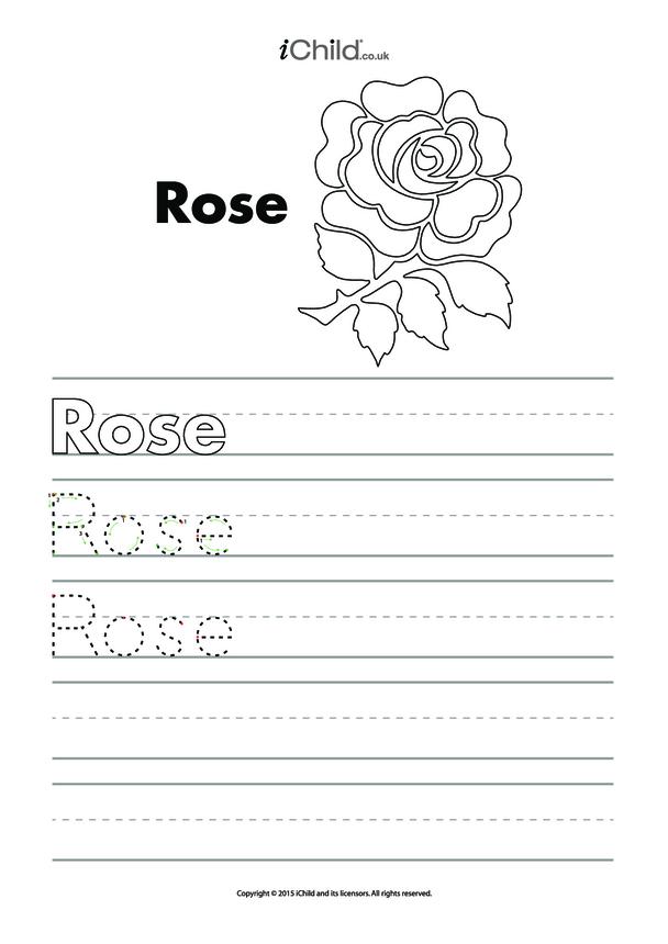 Rose Handwriting Practice Sheet
