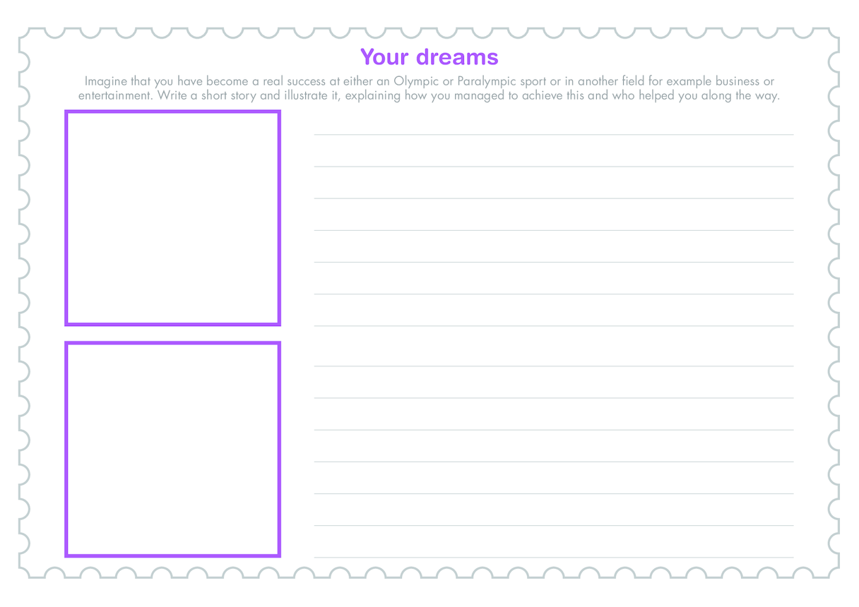 Secondary 4) Your Dreams- Template (Drawing/Writing)