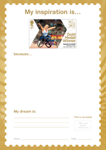 Thumbnail image for the My Inspiration Is- Hannah Cockroft- Gold Medal Winner Stamp Template activity.