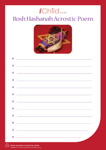 Thumbnail image for the Rosh Hashanah Acrostic Poem activity.