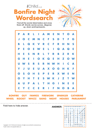 Thumbnail image for the Bonfire Night Wordsearch activity.
