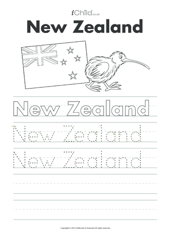 Thumbnail image for the New Zealand Handwriting Practice Sheet activity.