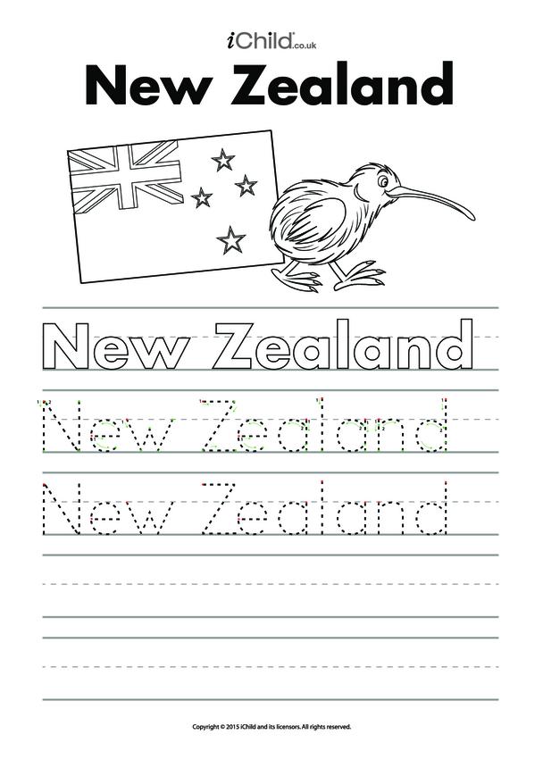 New Zealand Handwriting Practice Sheet