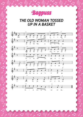 Thumbnail image for the Bagpuss: Old Woman Music Sheet (EYFS/KS1) activity.