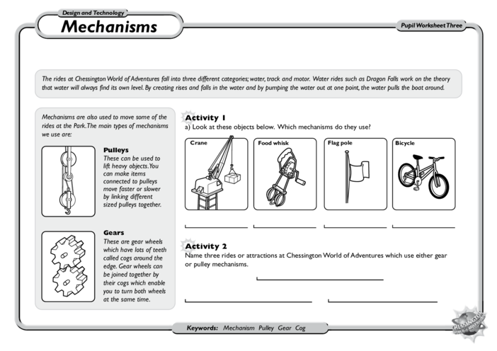Thumbnail image for the D&T Mechanisms: KS1 and KS2 activity.