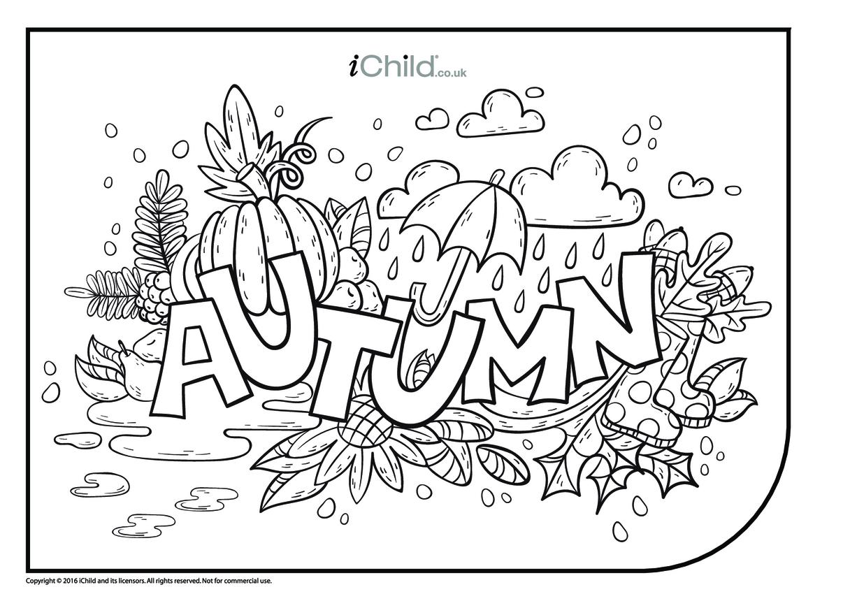 Autumn Fun Colouring in Picture